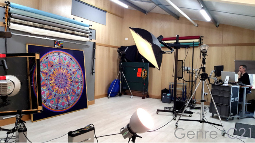 Mandala being photographed and colour calibrated