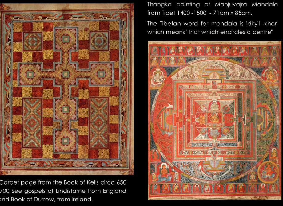 This picture shows an illustration of a carpet page from The Book of Lindisfarne and Mandala as a symbol for Holism