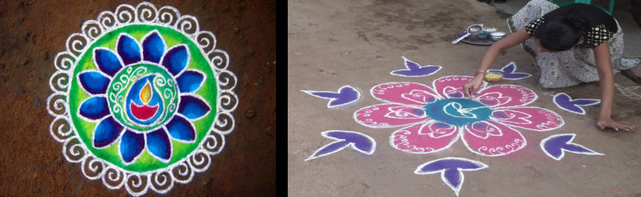 a lady in Mysore (Mysuru) makes Rangoli patterns outside her home.