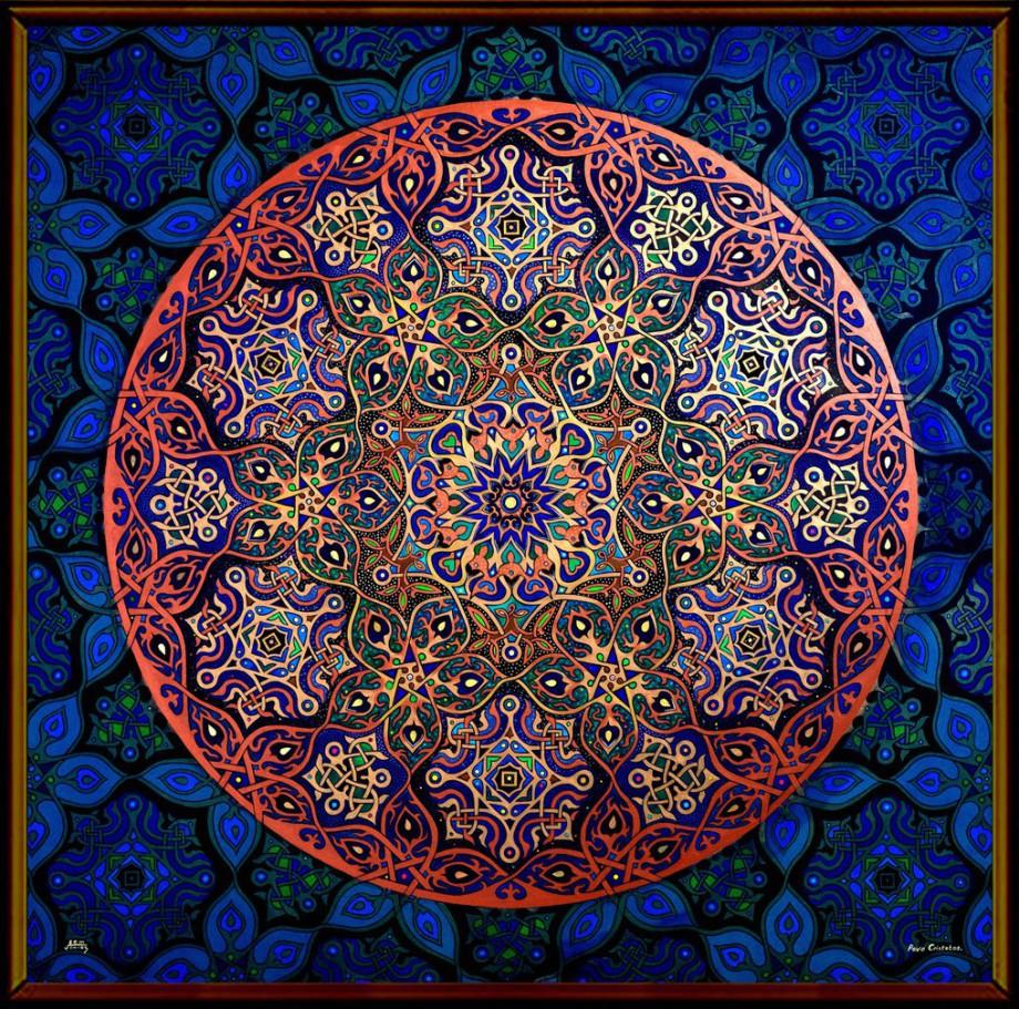 Worlds most famous Mandala Artist Stephen Meakin's Peacock Feather Mandala