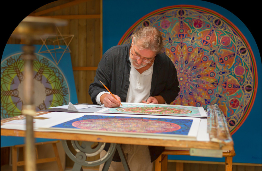 Christian Mandala Artist painting Mandala of Bluebells
