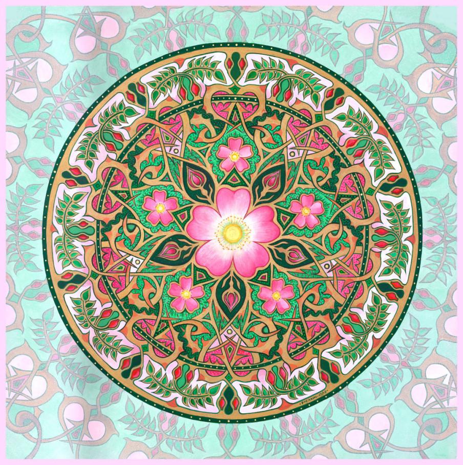 5 petaled Rose Mandala by Stephen E. Meakin Christian Mandala Art
