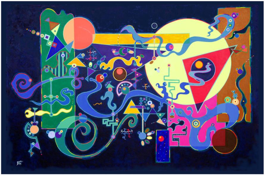 Joyful painting by amazing Mandala Artist Stephen Meakin