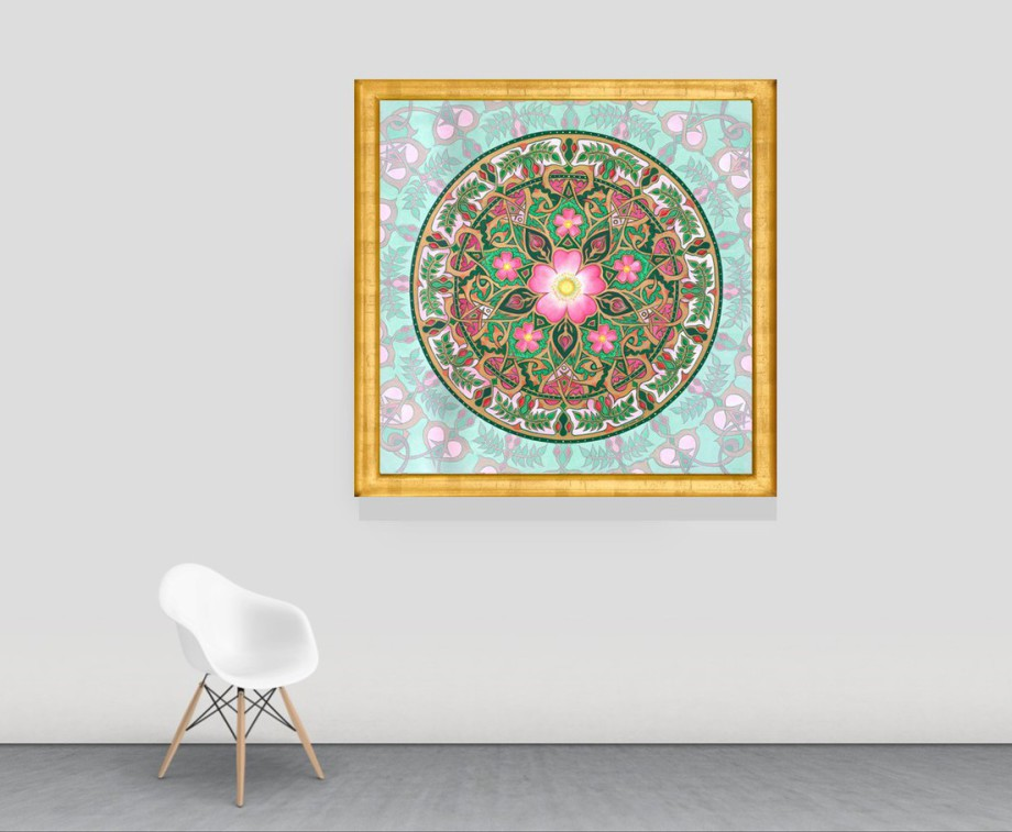 A photo of a Rose Mandala by Stephen Meakin shows the sacred geometry of the wild rose.